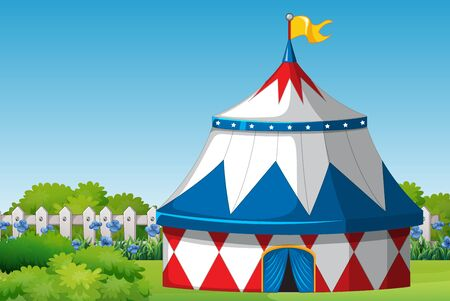 Scene with circus tent in the park at day time illustration