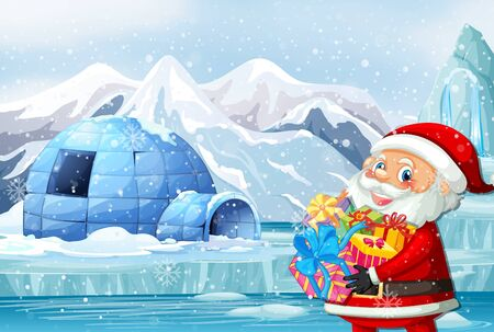 Scene with santa and presents in north pole illustration