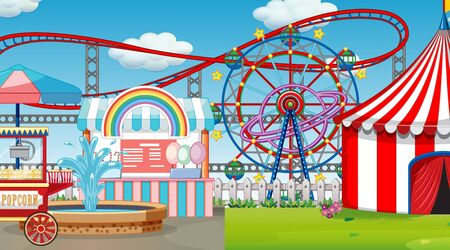 Scene with many rides in the fun fair illustration Illustration
