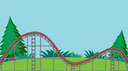 Background scene with emptry roller coaster track in the park illustration