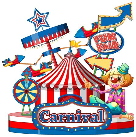 Carnival sign template with many rides in background illustration Vector Illustration