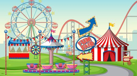 Scene with ferris wheel and big circus tent in the fair illustration