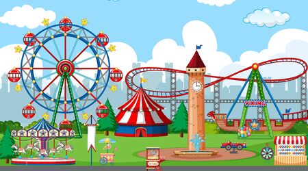 Scene with roller coaster and many rides in the fun park illustration