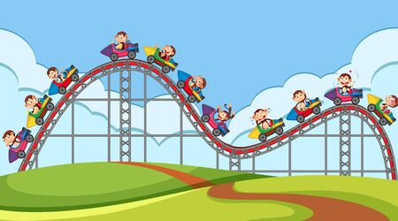 Happy monkeys riding on roller coaster in the fair illustration