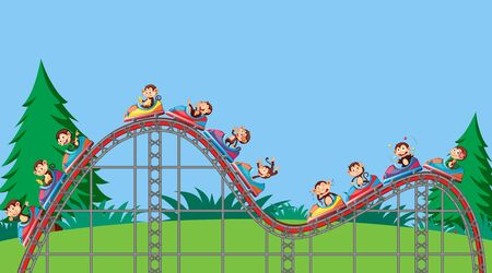 Scene with monkeys riding on roller coaster in the park illustration