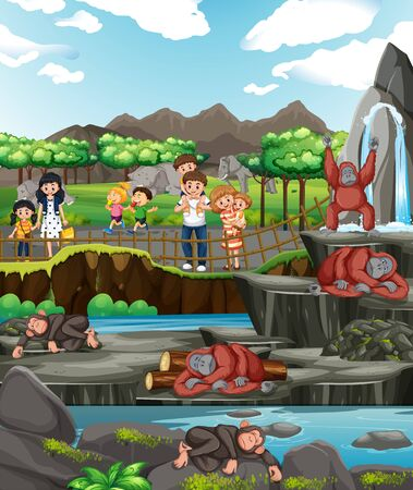 Scene with animals and people at the zoo illustration