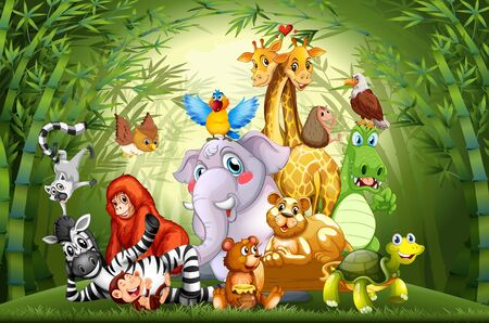 Many cute animals in bamboo forest illustration