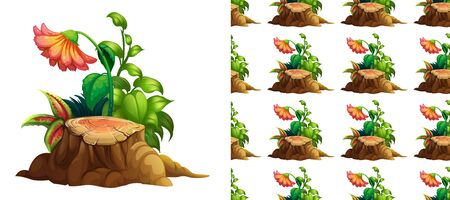 Seamless background design with flowers on stump wood illustration