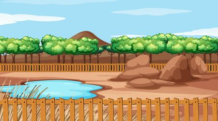 Background scene with trees and pond illustration