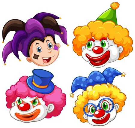 Four heads of funny clown on white background illustration
