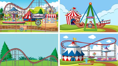 Four scenes with many rides in the fun fair illustration Vektorové ilustrace