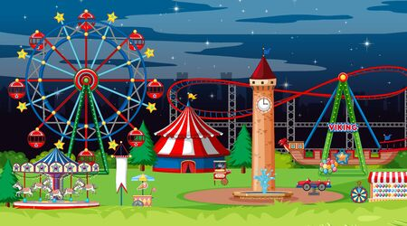 Scene with many circus rides in the park at night illustration Illustration