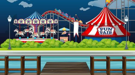Scene with circus rides by the lake at night time illustration