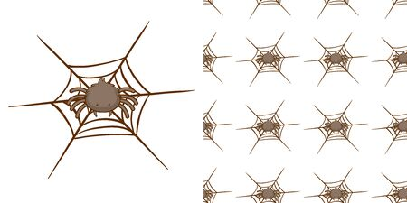 Seamless background design with spider and web illustration Çizim