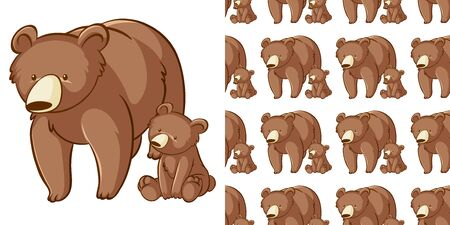 Seamless background design with grizzly bear illustration Illustration