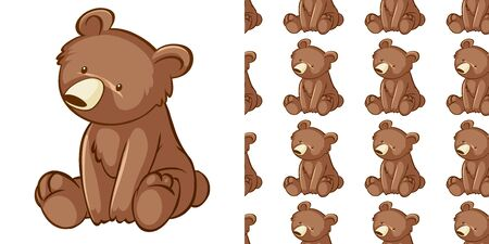 Seamless background design with little cub illustration