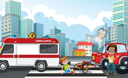 Accident scene with car crash in the city illustration Ilustracja