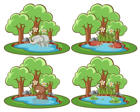 Set of wild animals in the park with pond and tree illustration