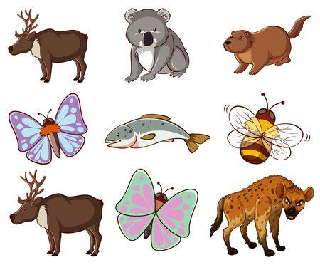 Gran conjunto de vida silvestre con muchos tipos de animales ilustración
