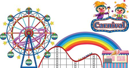 Carnival with rides and vendor on white background illustration
