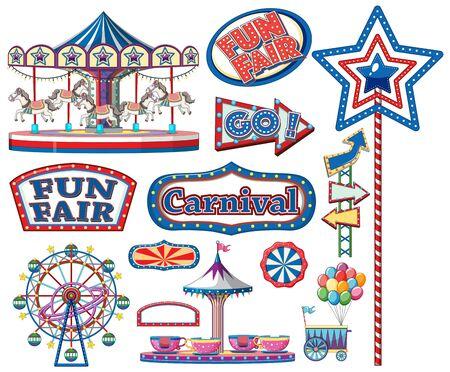 Zirkusartikel auf weißer Hintergrundillustration Vektorgrafik