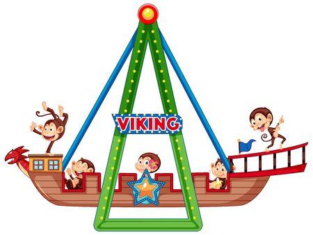 Cute monkeys riding on viking ship illustration