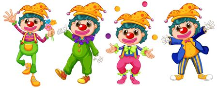 Four funny clowns on white background illustration