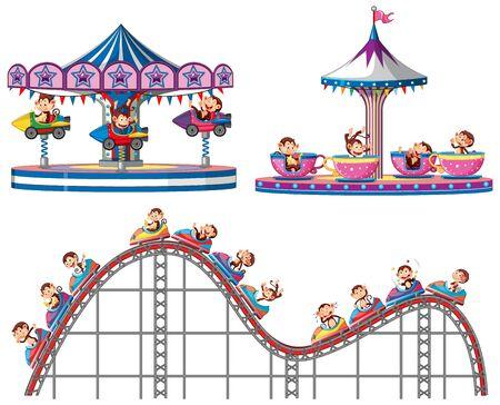 Set of monkeys riding on circus rides on white background illustration Illustration