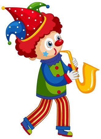Happy clown playing saxophone on white background illustration