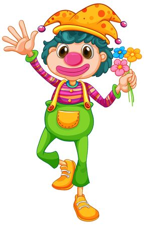Funny clown in jumpsuit and beautiful flowers illustration