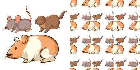 Seamless background design with different mouse illustration Vectores