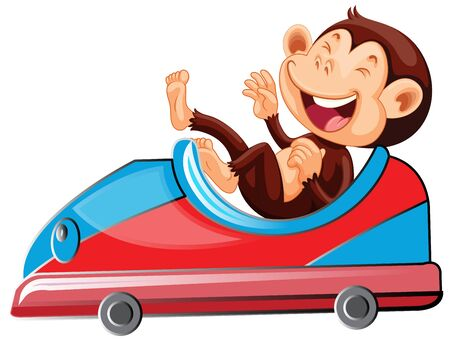 Happy monkey riding on toy car illustration