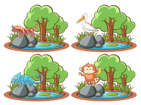 Set of wild animals by the pond and tree on white background illustration