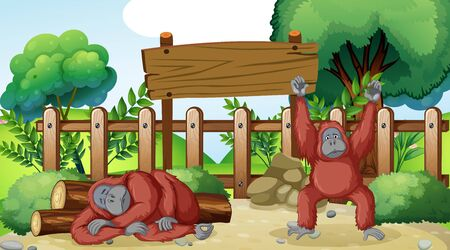 Scene with two chimpanzees in the zoo illustration Vettoriali