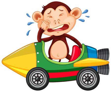 Crying monkey riding on toy car illustration