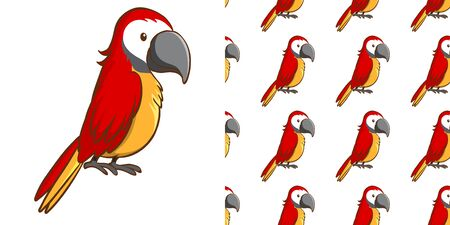 Seamless background design with red macaw illustration Иллюстрация