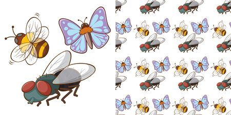 Seamless background design with butterfly and bee illustration