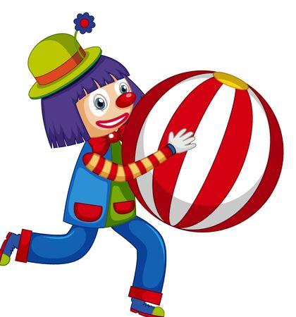 Happy clown holding big ball on white background illustration