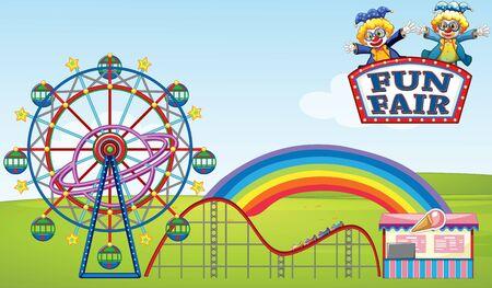 Scene with ferris wheel and roller coaster in the park illustration Vektoros illusztráció