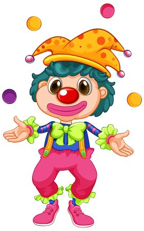 Funny clown juggling balls on white background illustration