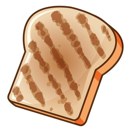 One piece of bread toasted on white background illustration