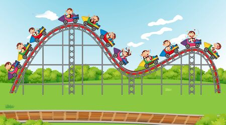 Scene with happy monkeys riding on roller coaster in the park illustration