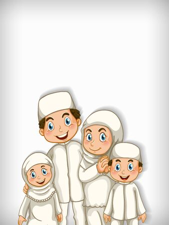 Background template design with happy muslim family illustration