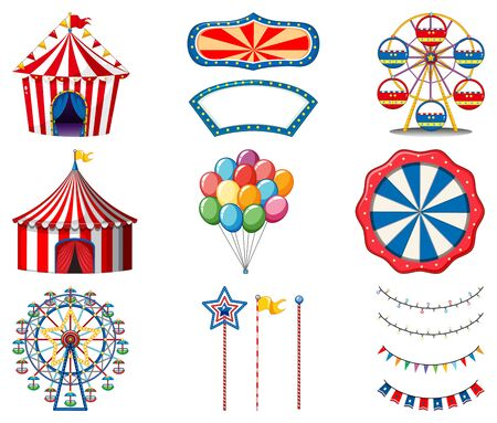 Set of circus items on white background illustration
