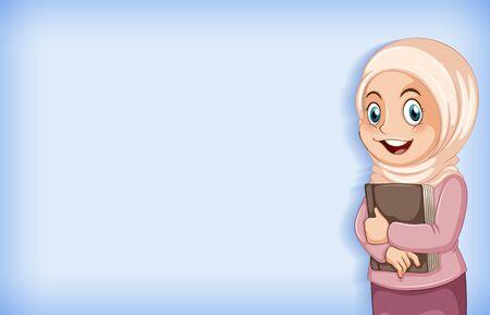 Plain background with muslim girl holding big book illustration