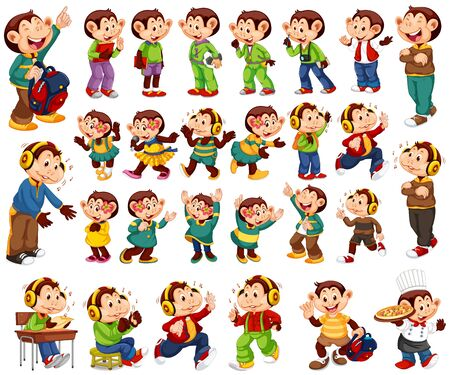 Big set of happy monkeys in different costumes illustration