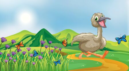 Nature scene background with ugly duckling running in the park illustration Ilustração