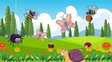 Nature scene background with many insects in the park illustration