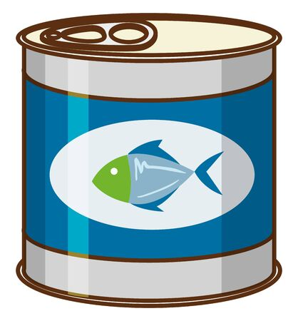 Canned food with tuna fish on product logo illustration Logo