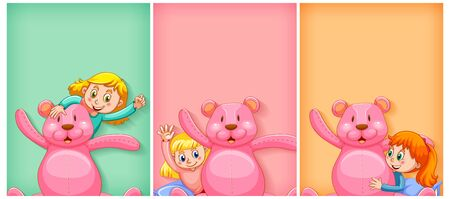 Plain background with happy girl and pink teddy bear illustration Stock Illustratie
